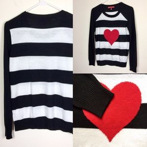 SAKS FIFTH AVENUE STRIPED HEART GRAPHIC SWEATER